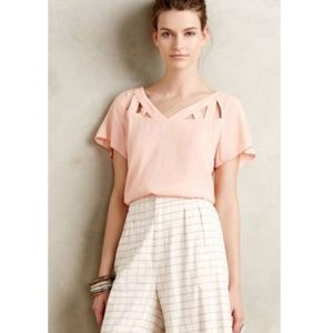 Anthropologie Maeve coral peach ladder cross top
